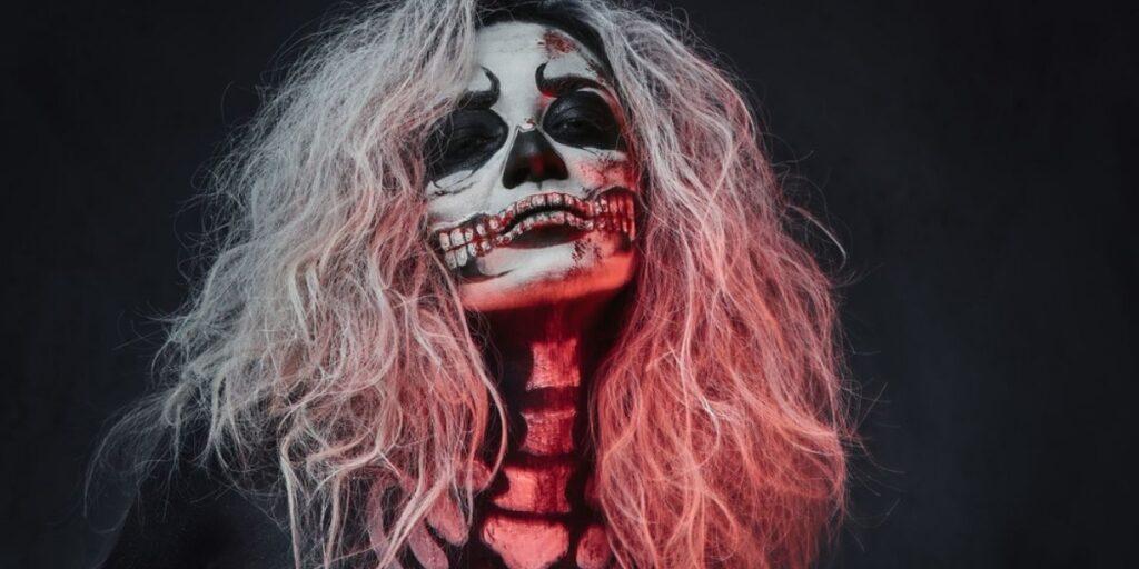 woman with skeleton makeup